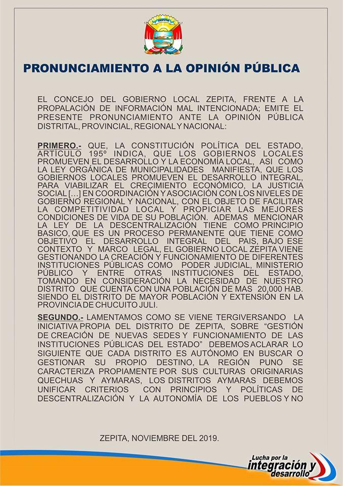 PRONUNCIAMIENTO A LA OPINIÓN PÚBLICA PAG. 1