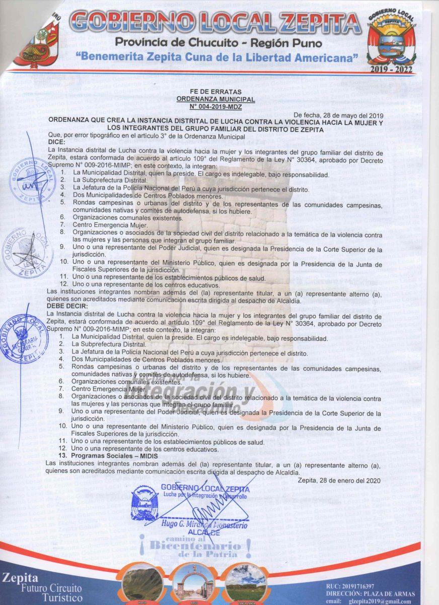 ORDENANZA MUNICIPAL N° 004-2019-MDZ