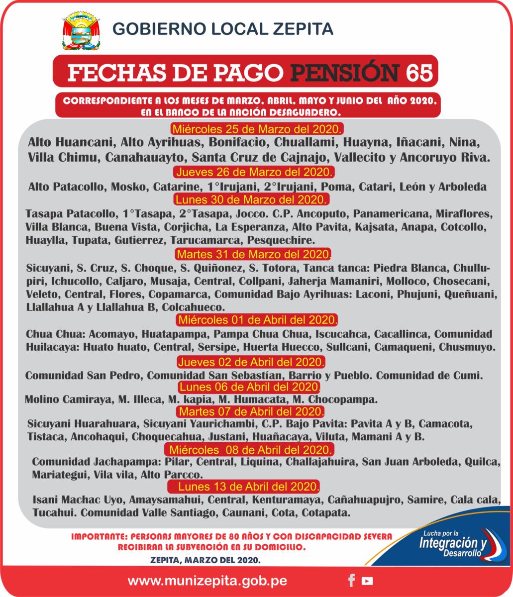 CRONOGRAMA DE PAGOS DEL PROGRAMA PENSIÓN 65, CORRESPONDIENTE A LOS MESES MARZO, ABRI, MAYO Y JUNIO DEL PRESENTE AÑO 2020 EN EL BANCO DE LA NACIÓN DESAGUADERO.
