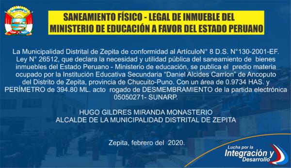 SANEAMIENTO FISICO – LEGAL DE INMUEBLE DEL MINISTERIO DE EDUCACIÓN A FAVOR DEL ESTADO PERUANO