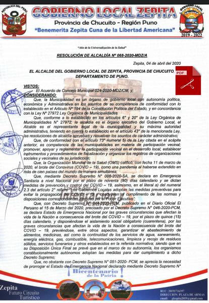 RESOLUCIÓN DE ALCALDIA 068-2020-MDZ, ACUERDA EL COMITÉ DE FISCALIZADORES DE LA ENTREGA DE LAS CANASTAS BÁSICAS FAMILIARES.