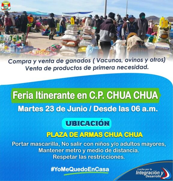 Las autoridades y la población del C.P. Chua chua invitan a la feria semanal
