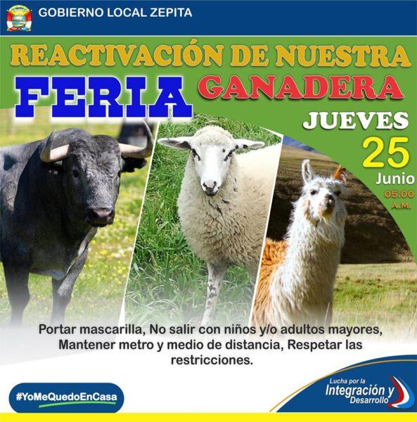 SE REACTIVA LA FERIA DE GANADOS DE ZEPITA ESTE JUEVES 25 DE JUNIO SE DESARROLLARÁ CUMPLIENDO LAS MEDIDAS DE BIOSEGURIDAD.
