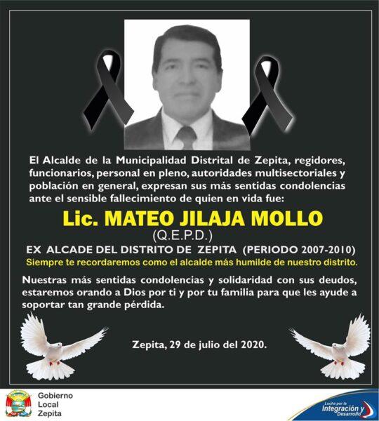 Nuestras condolencias, partió al más allá el ex alcalde Mateo Jilaja Mollo,