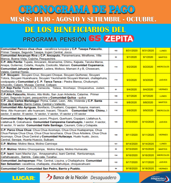 PAGO PROGRAMA PENSION 65