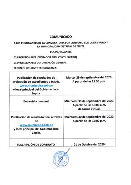 COMUNICADO A LOS POSTULANTES DE LA CONVOCATORIA CONCURSO PUBLICO POR CONVENIO CON LA DRE Y LA MUNICIPALIDAD DISTRITAL DE ZEPITA.