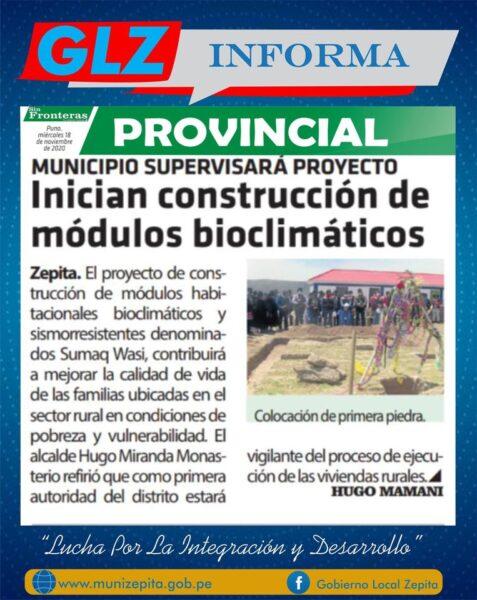 Gracias a los medios de comunicación regional por difundir las acciones que viene cumpliendo el Gobierno Local Zepita.