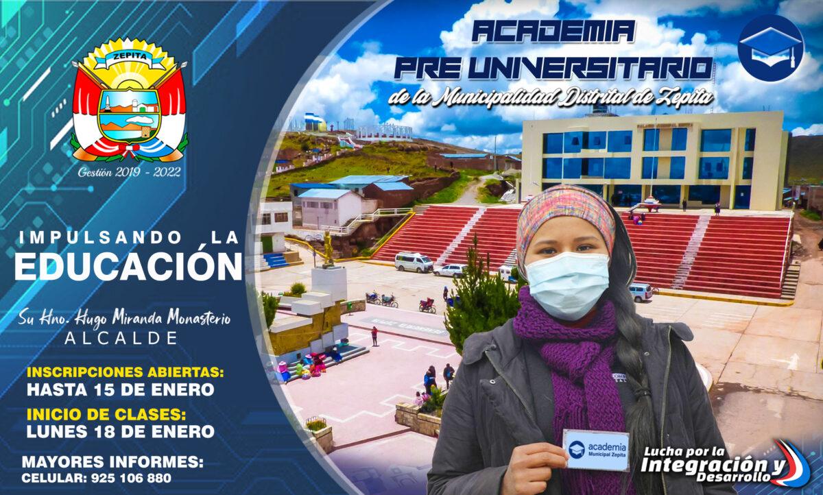 ACADEMIA MUNICIPAL PRE-UNIVERSITARIA EN TIEMPOS DE COVID-19 (CICLO VACACIONAL 2021)