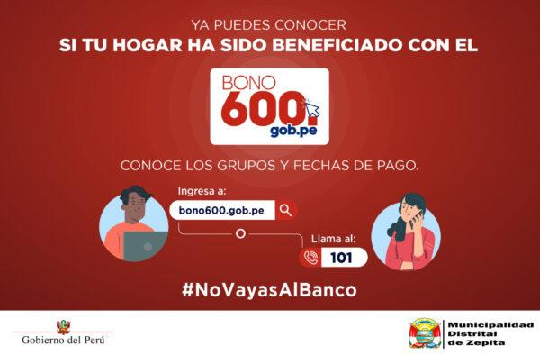 BONO 600 PERÚ