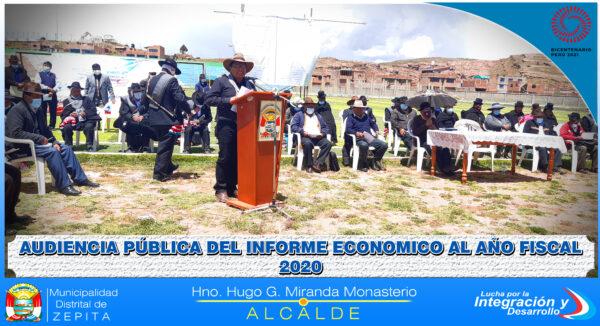 AUDIENCIA PÚBLICA DEL INFORME ECONOMICO AL AÑO FISCAL 2020